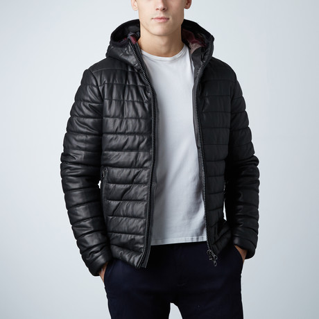 Teo Lamb Leather Down Jacket // Black