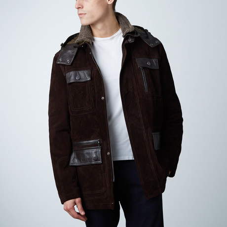 Vittorio Suede Leather Coat // Dark Brown (Euro: 46)