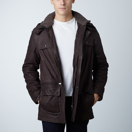 Vittorio Nubuck Leather Coat // Dark Brown (Euro: 46)
