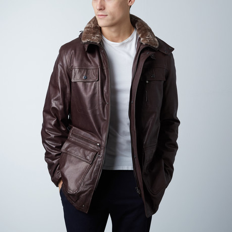 Vittorio Leather Coat // Dark Brown (Euro: 46)