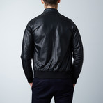 1066 Lamb Perfored Leather Bomber Jacket // Black (Euro: 46)