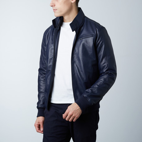 Thin Lamb Leather Bomber Jacket // Blue (Euro: 46)