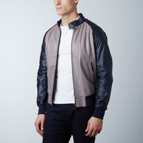 1066 Lamb Leather Bomber Jacket // Gray + Blue (Euro: 46)
