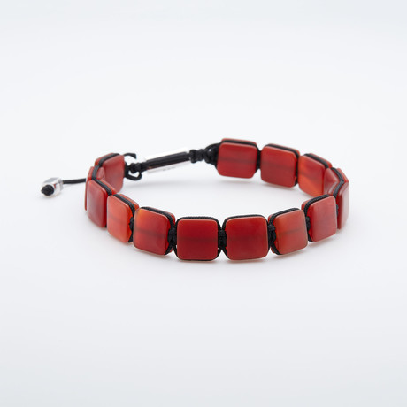 Red Agate Stone Beaded Pull Cord Bracelet (Red Agate)