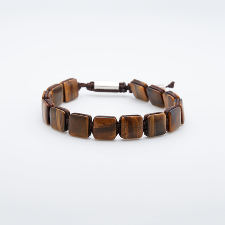 Matte Tiger's Eye Stone Beaded Pull Cord Bracelet (Matte Tiger'S Eye)