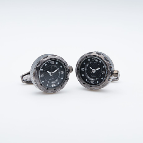 Gunmetal W/ Black Face Working Watch Cufflinks (Gunmetal W/ Black Face)
