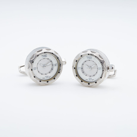 Silver W/ White Working Watch Cufflinks (Silver W/ White Face)