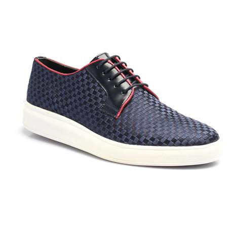 Woven Contrast Piped Derby Sneaker // Dark Blue (Euro: 39)