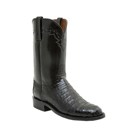 Ultra Belly Caiman Crocodile Roper Boot // Black