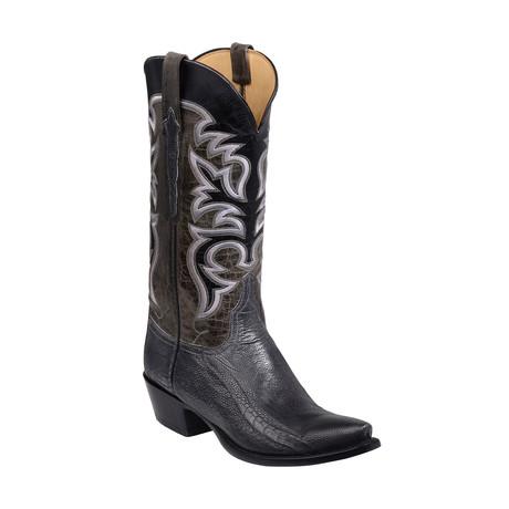 Ostrich Leg + Goatskin Western Boot // Grey