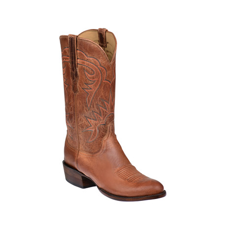 Goat Skin Round Toe Western Boot // Tan // EE (Wide) (US: 8)