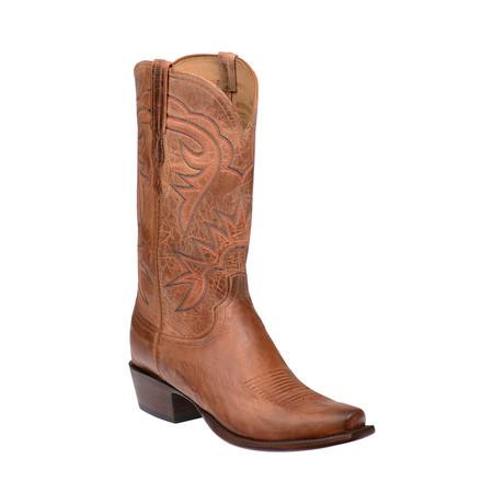 Goat Skin Square Toe Western Boot // Tan (US: 7.5)