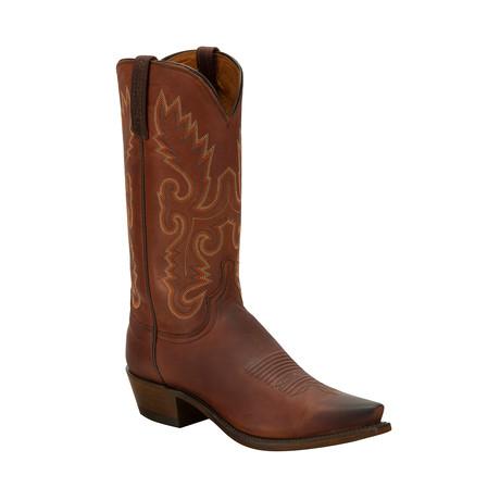 Lavati Calfskin Pointed Toe Western Boot // Chocolate (US: 8)