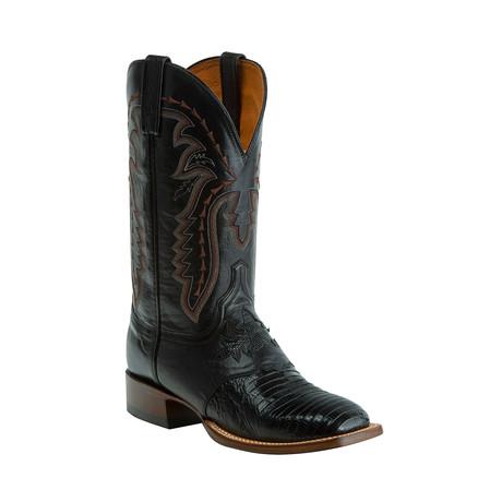 Lizard Horseman Style Western Boot // Black (US: 8)
