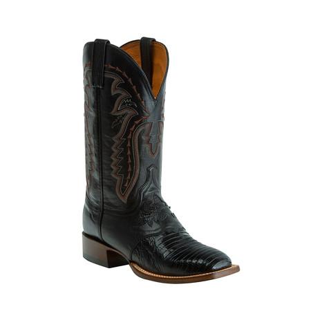 Lizard Horseman Style Western Boot // Black // EE (Wide)