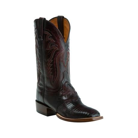 Lizard Horseman Style Western Boot // Black Cherry (US: 8)