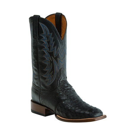 Full Quill Ostrich Horseman Style Western Boot // Black (US: 8)