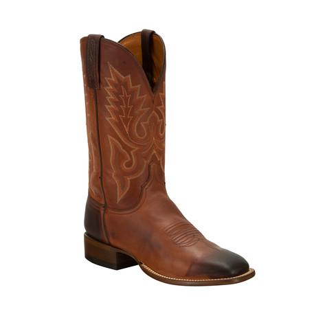 Lavati Calfskin Horseman Style Western Boot // Chocolate // EE (Wide)