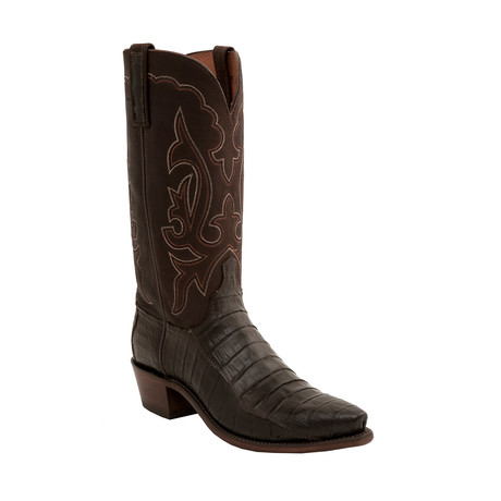 Ultra Belly Caiman Crocodile Pointed Toe Western Boot // Chocolate (US: 8)
