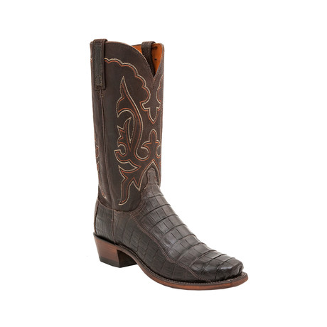 Ultra Belly Caiman Crocodile Square Toe Western Boot // Chocolate (US: 8)