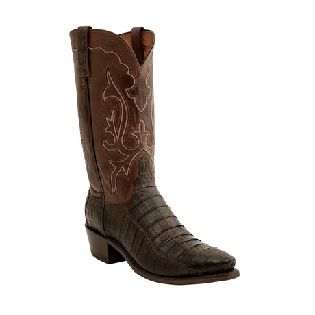 Ultra Belly Caiman Crocodile Pointed Toe Western Boot // Brown (US: 8)