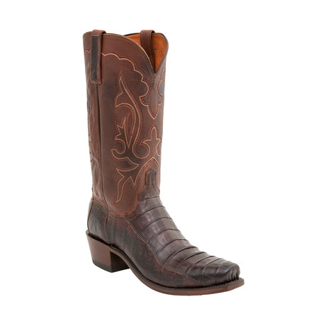 Ultra Belly Caiman Crocodile Square Toe Western Boot // Brown (US: 8)
