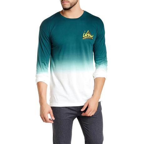 Three Point Dip Dye Long Sleeve // Aqua + White (S)