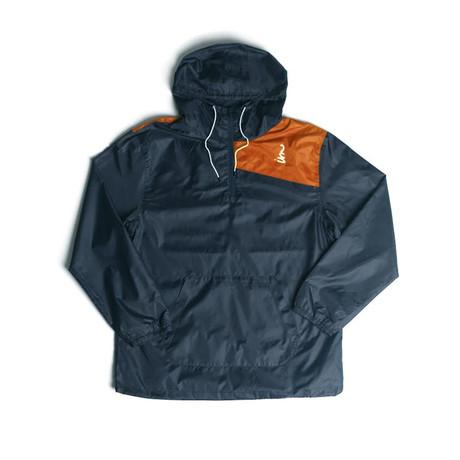 Vector Windbreaker Jacket // Navy + Orange (S)