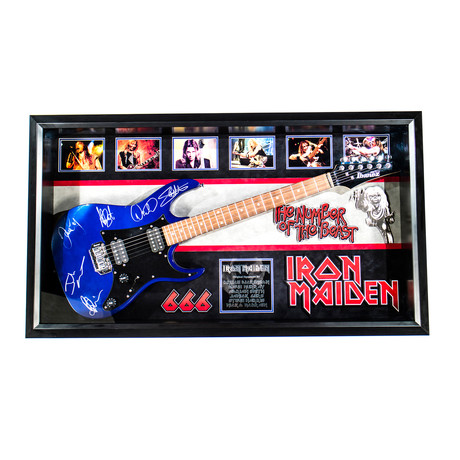 Framed + Signed Guitar // Iron Maiden