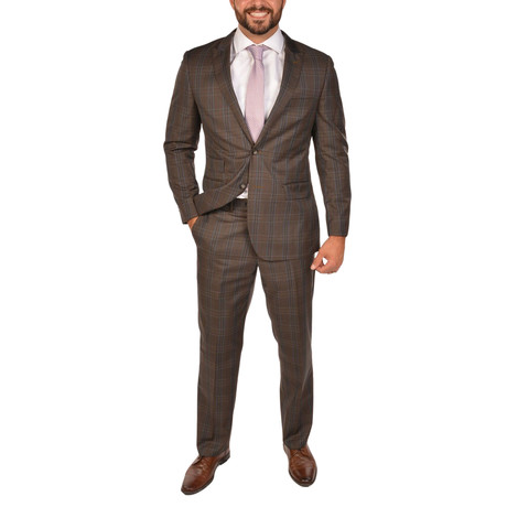 Bresciani // Modern Fit Suit // Checkered Brown (US: 36S)