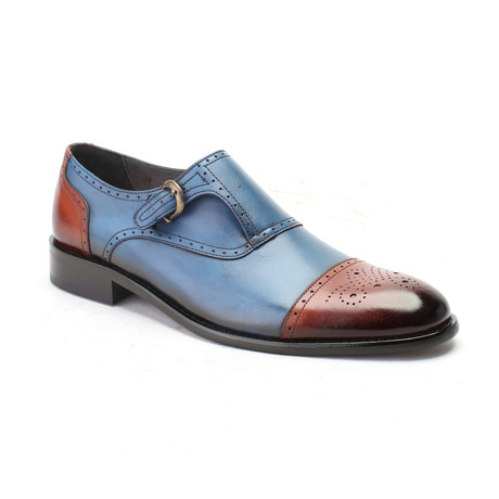Christopher Monkstrap Cap-Toe // Tobacco + Blue (Euro: 39)