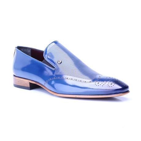 Medallion Toe Patent Loafer // Dark Blue (Euro: 39)