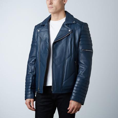 Mason + Cooper Ethan Leather Jacket // Navy
