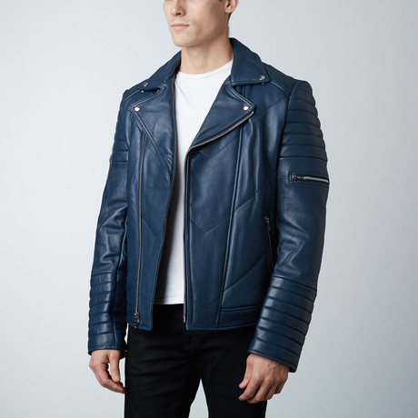 Mason + Cooper // Ethan Leather Jacket // Navy (S)