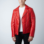 Mason + Cooper Ethan Leather Jacket // Red (S)