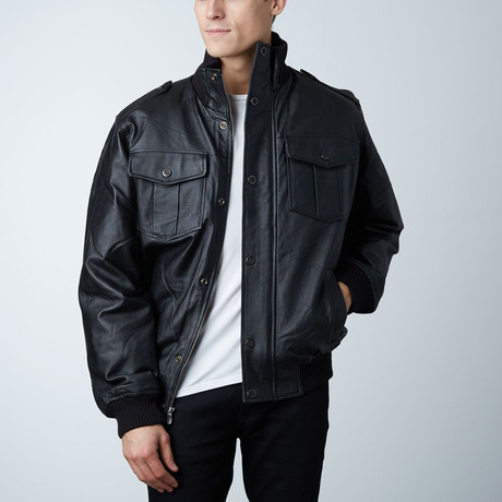 Wilda Leather Bomber Jacket // Black (S)