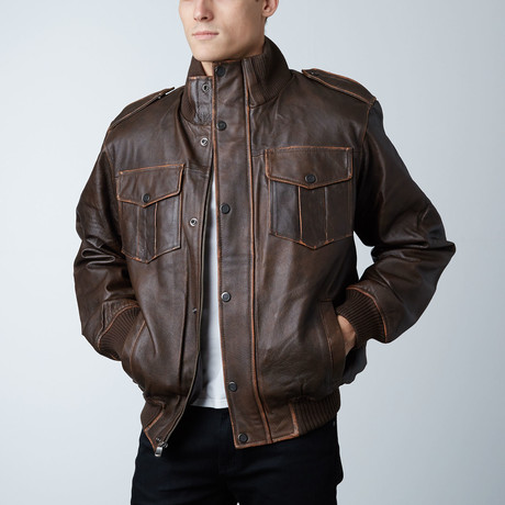 Wilda Leather Bomber Jacket // Brown (S)