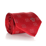 Concentric Squares Tie // Red + White