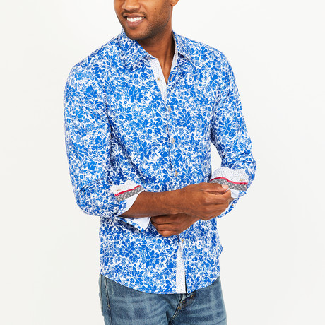 Asher Organic Cotton Slim Fit // Coral Blue Floral