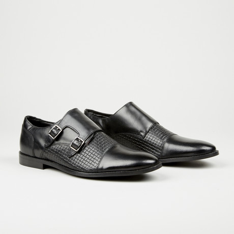 Textured Double Monk Strap // Black (Euro: 40)