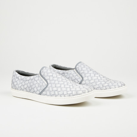Printed Slip-On // Steel Blue + White (Euro: 40)