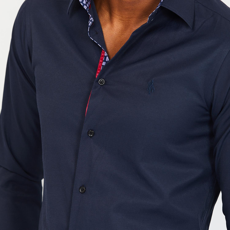Thomas Button Up Shirt Navy Xl Blanc Touch Of Modern
