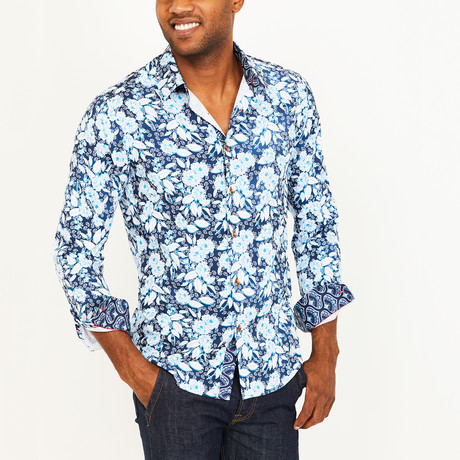 Ryan Button-Up Shirt // Navy + White (S)