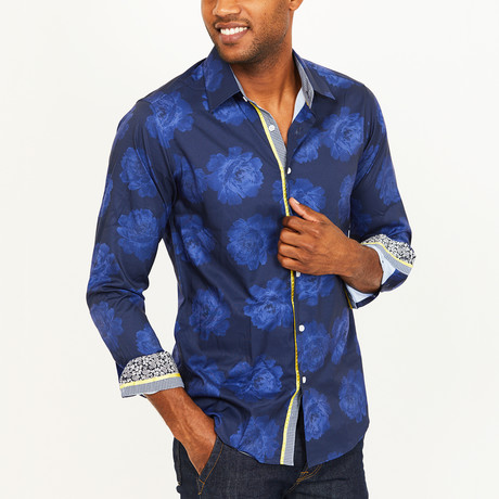 Gregory Button-Up Shirt // Navy (S)