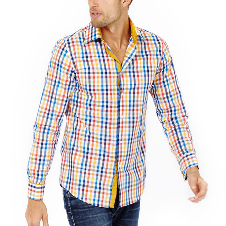 Chase Slim Fit Cross Check Button-Down // Multicolor (S)