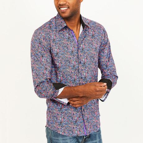 Louis Button-Up Shirt // Blue + Lavender + Orange (S)