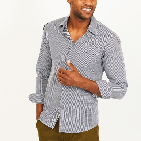Byron Button-Up Shirt // Black + White (S)
