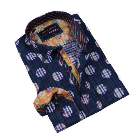 Stripe Dot Button-Up Shirt // Navy (S)