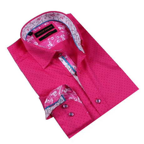 Shadow Dot Button-Up Shirt // Fuchsia (S)