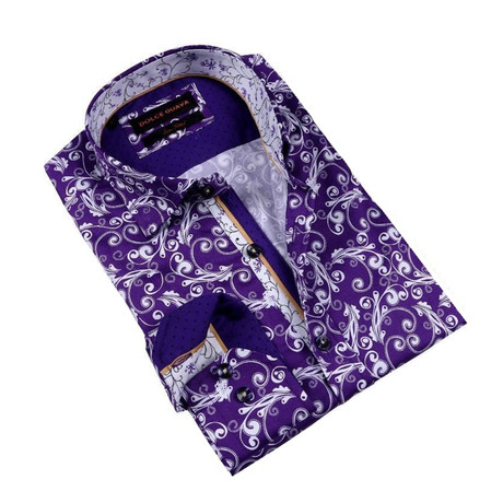 Paisley Print Button-Up Shirt // Purple (S)